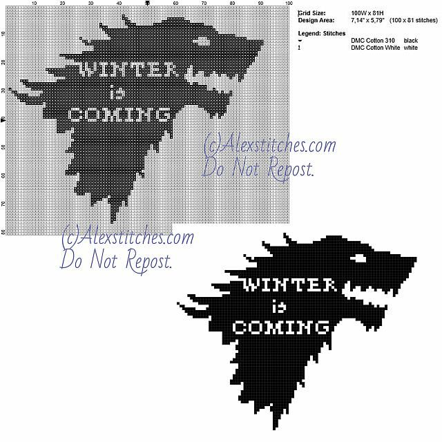 Winter is Coming Game Of Thrones free cross stitch pattern 100x80 2 ...