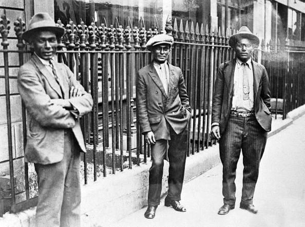 Three seamen - West India Dock Road, 1925