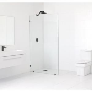 Glass Warehouse 48 In X 78 In Frameless Fixed Shower Door In Matte Black Without Handle Gw Sfp 48 Mb The Home Depot In 2020 Shower Doors Black Shower Doors Cleaning Shower Glass