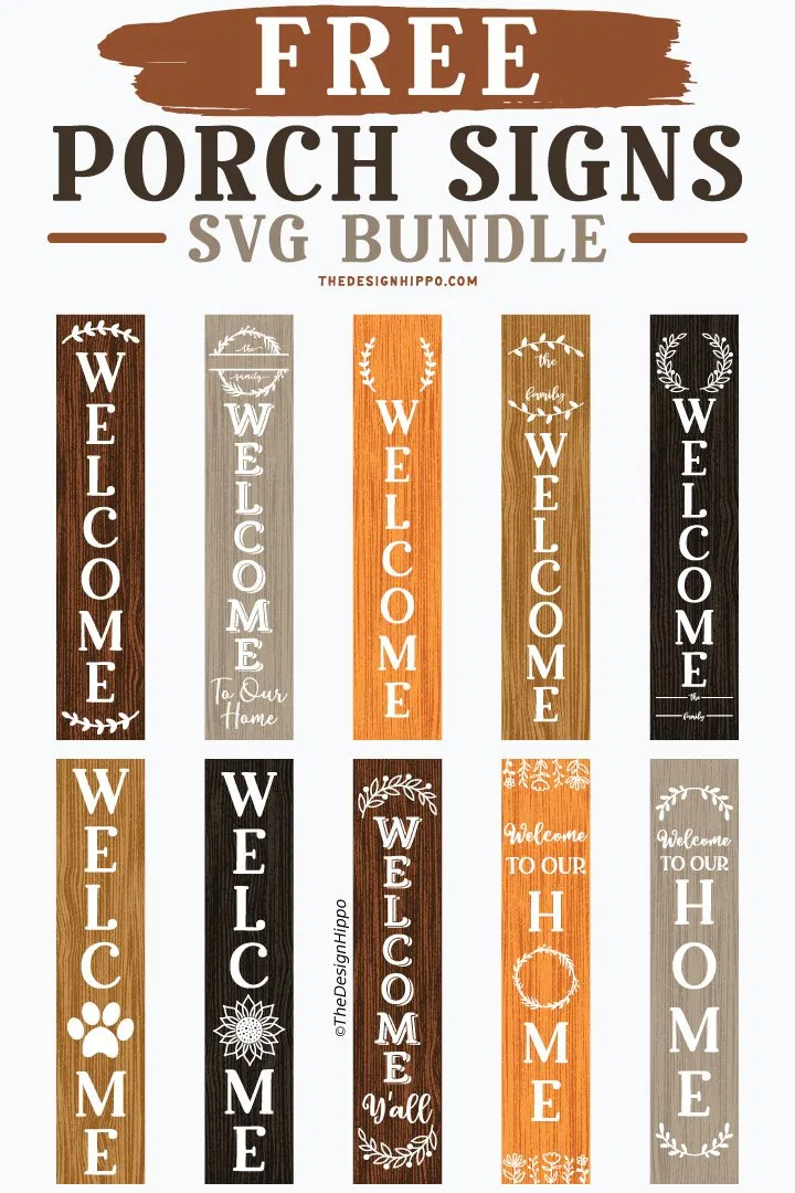10 Free Welcome Vertical Porch Sign SVG Cut Files for Cricut