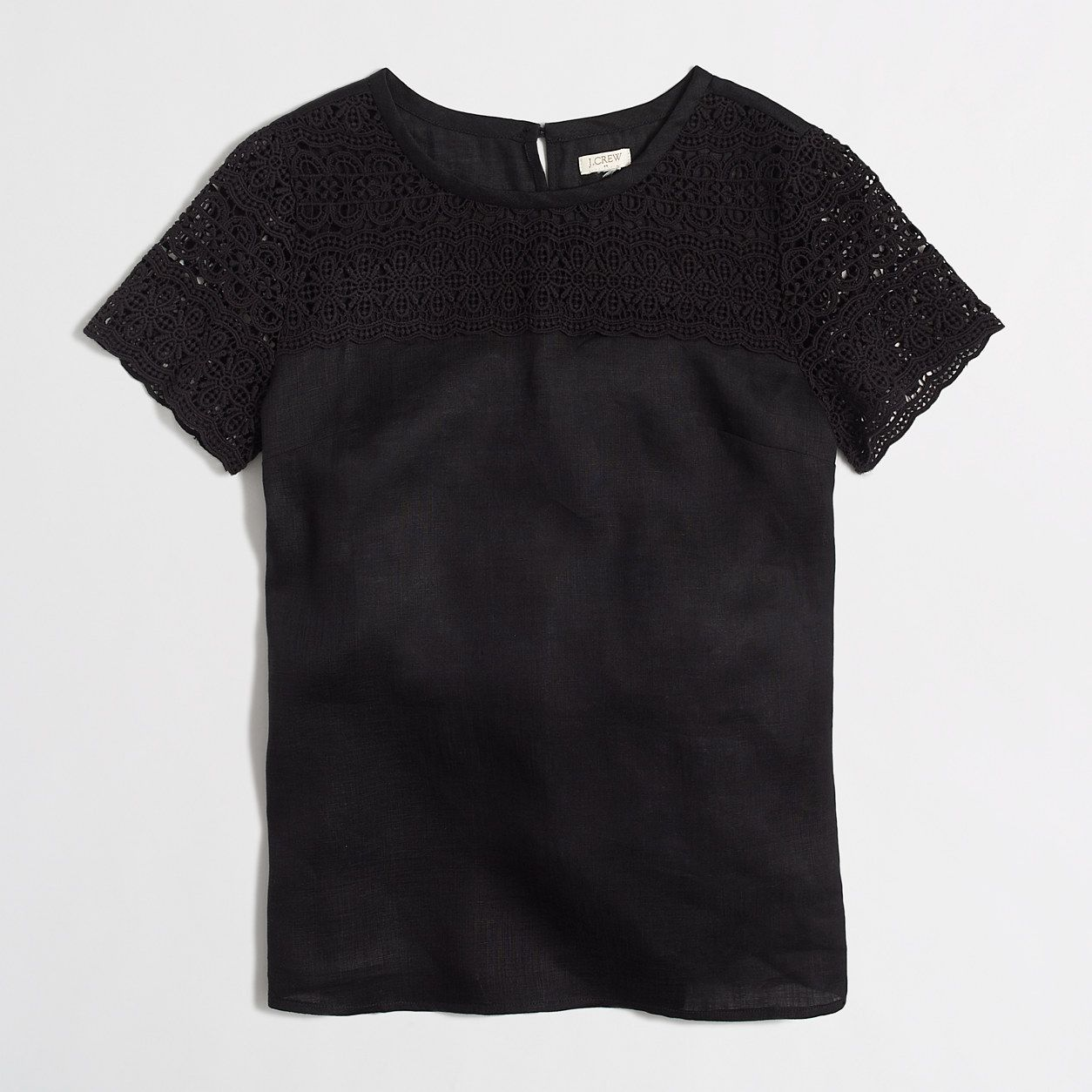 Factory lace-linen tee : Shirts & Tops | J.Crew Factory