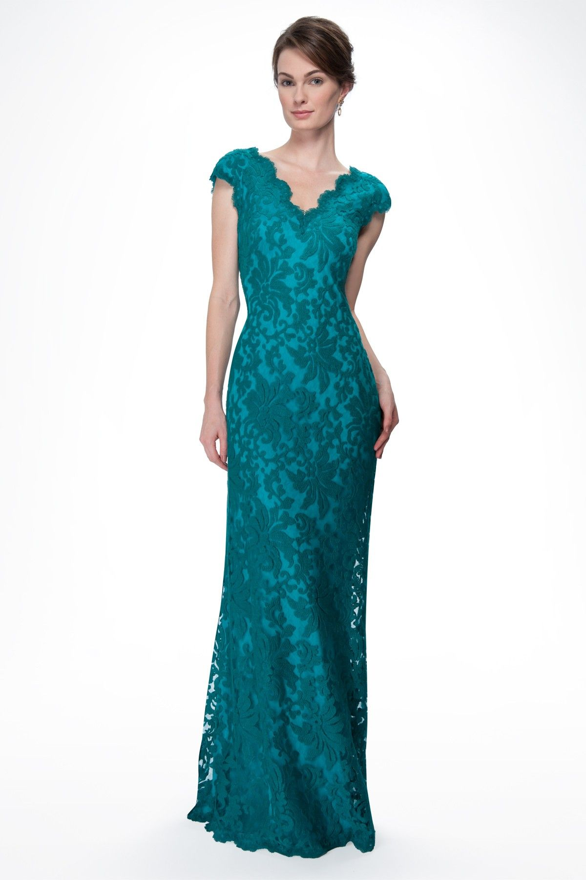 Embroidered Lace Scalloped V-Neck Gown in Aqua - Mother of the Bride - Wedding | Tadashi Shoji