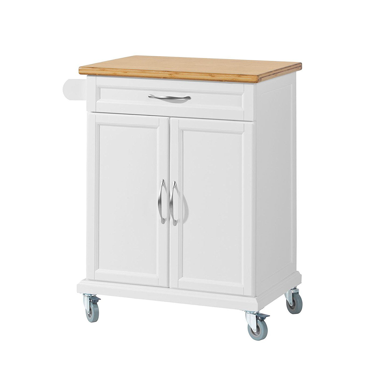 SoBuy® Kitchen Cabinet Kitchen Storage Trolley Cart with Bamboo ...