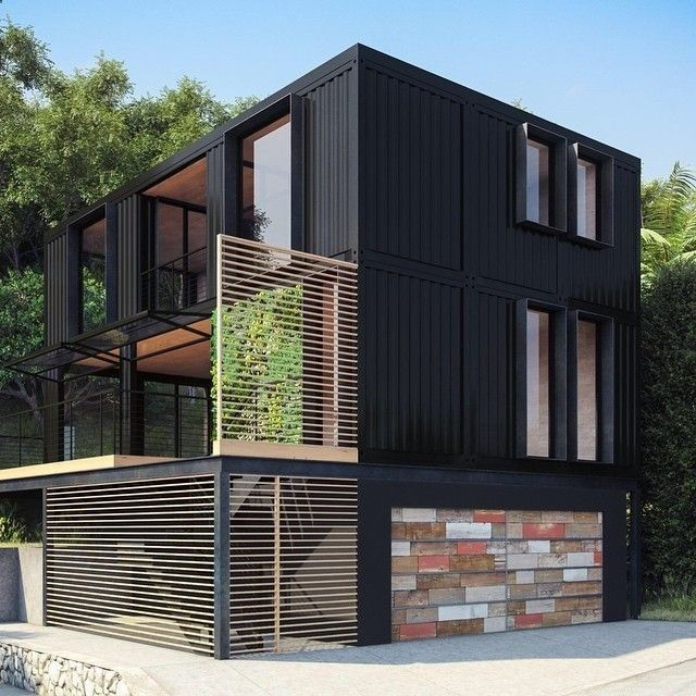 Container House - Cool Windows and use of wood Would work well as