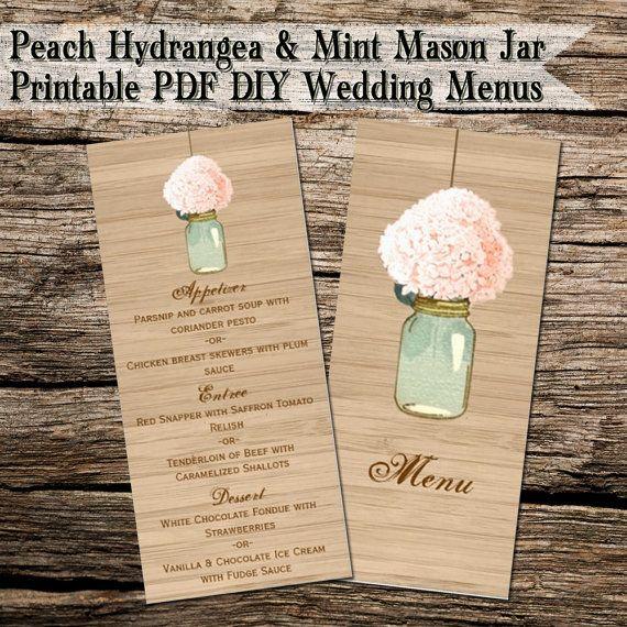 Peach Hydrangea Mint Mason Jar Rustic Diy Wedding Menus