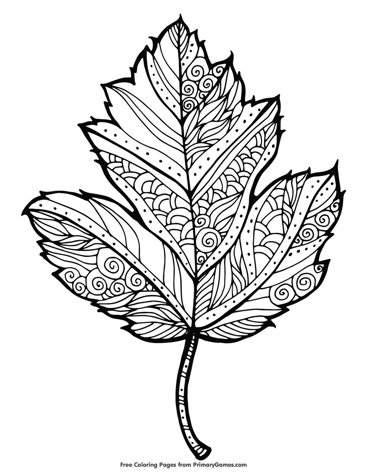 free autumn coloring pages for adults | Maple Leaf Coloring Page • FREE Printable eBook | Fall ...