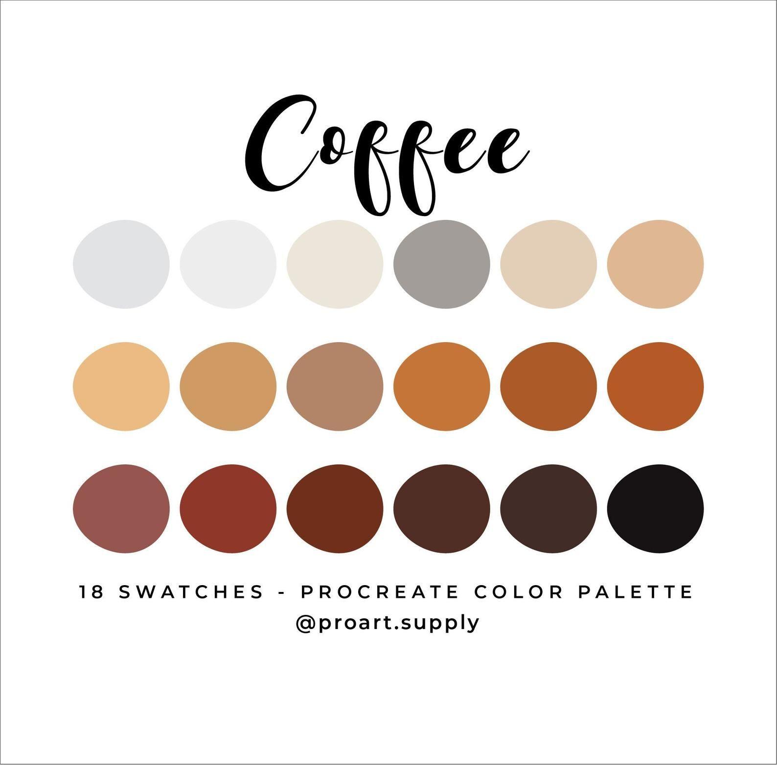 Coffee procreate color palette brown orange tan beige