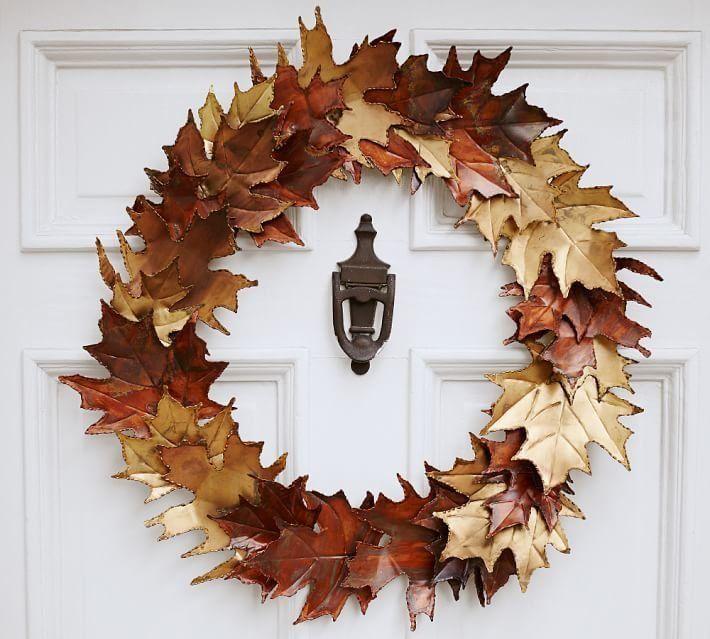 Pottery Barn Metal Leaf Wreath Front Door Fall Decor Fall Wreaths Fall Leaf Wreaths