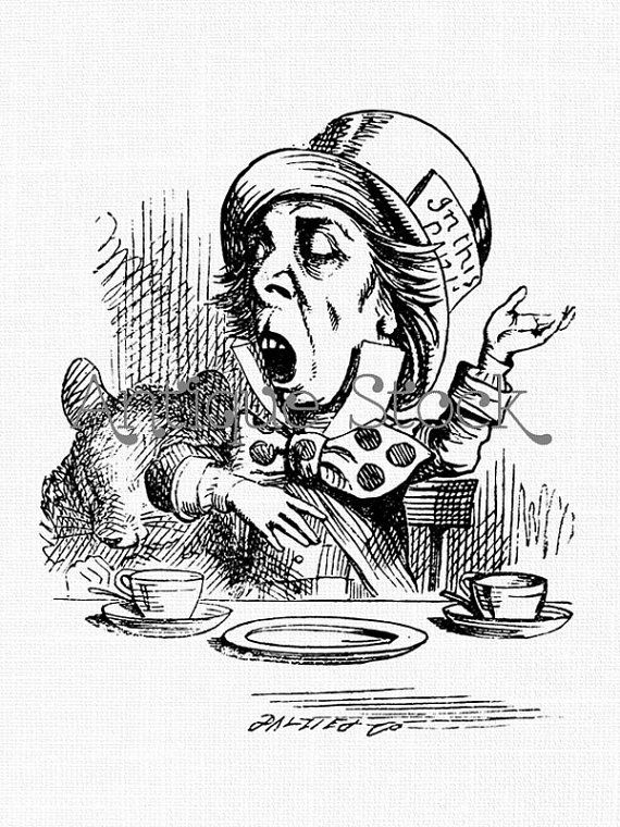 Mad Hatter Old Image Alice in Wonderland Drawing by AntiqueStock ...