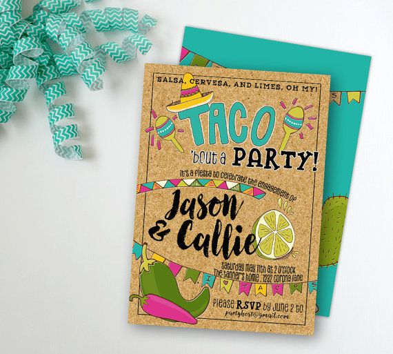Taco Fiesta Party Invitation, Engagement Anniversary Graduation - engagement party templates