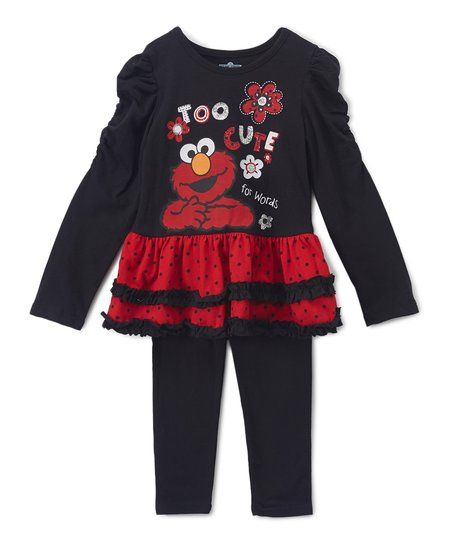 Childrens Apparel Network Sesame Street Elmo Too Cute Ruffle Tunic    Leggings - Toddler  d2bc9a9c6