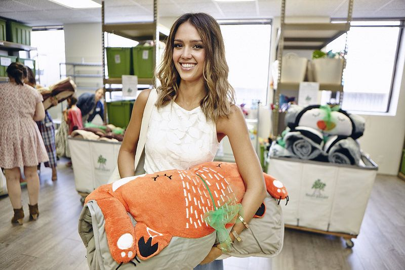 Check out Jessica Alba with The Land of Nod's How Do You Zoo Fox sleeping bag. Get one too for only $99!