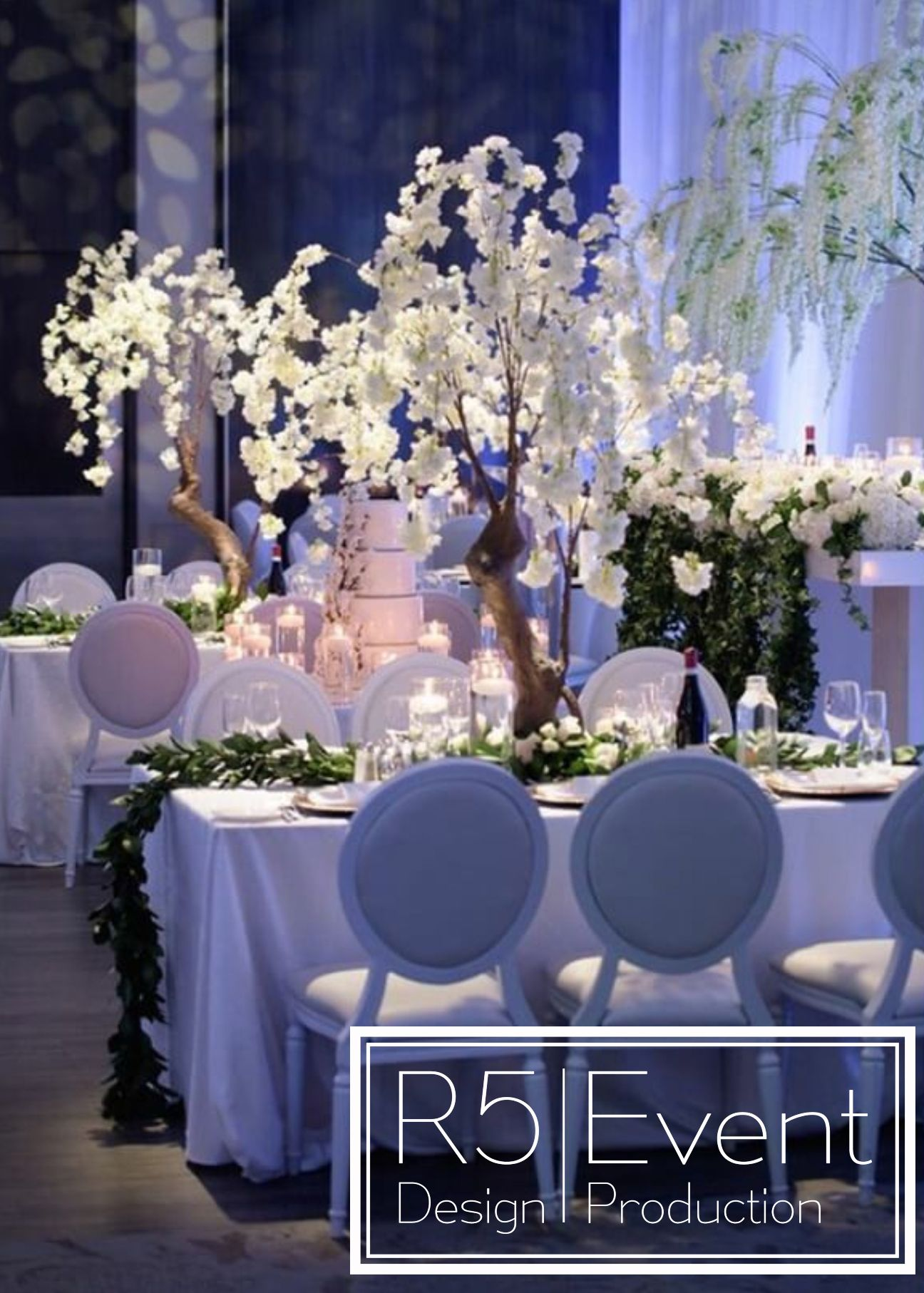 Stunning White Cherry Blossom Trees Greenery And Fresh Roses Full Service Wedding Decor By R5 E Wedding Decorations Event Design Corporate Events Decoration