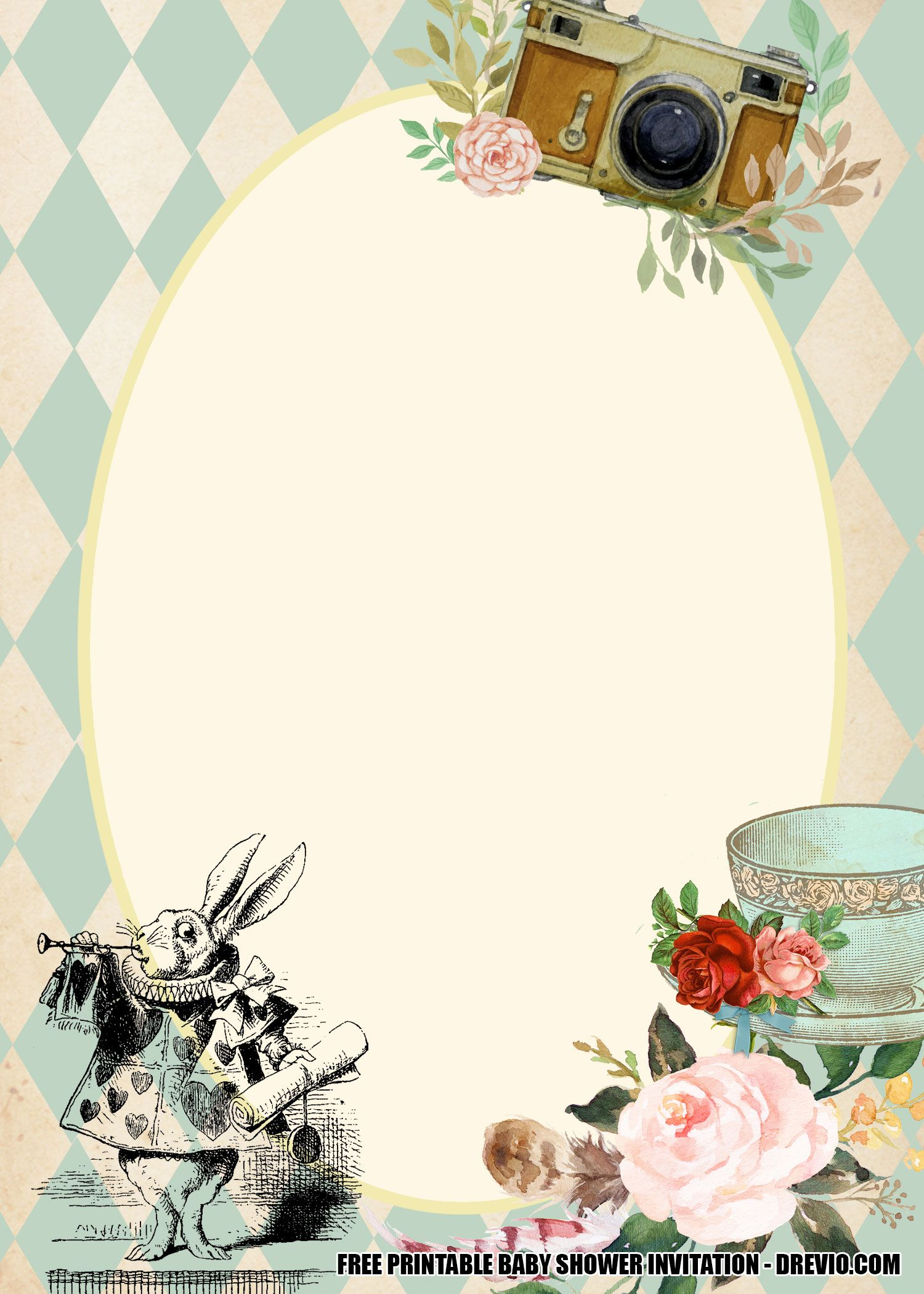 5 + Alice in Wonderland Baby Shower Invitation Template For Free