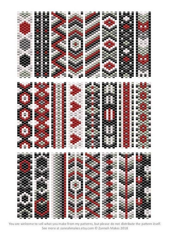 6 Colour Carrier Bead Patterns, Odd Count Peyote, Six-Colour Patterns, Full Word Charts, Colourway 1