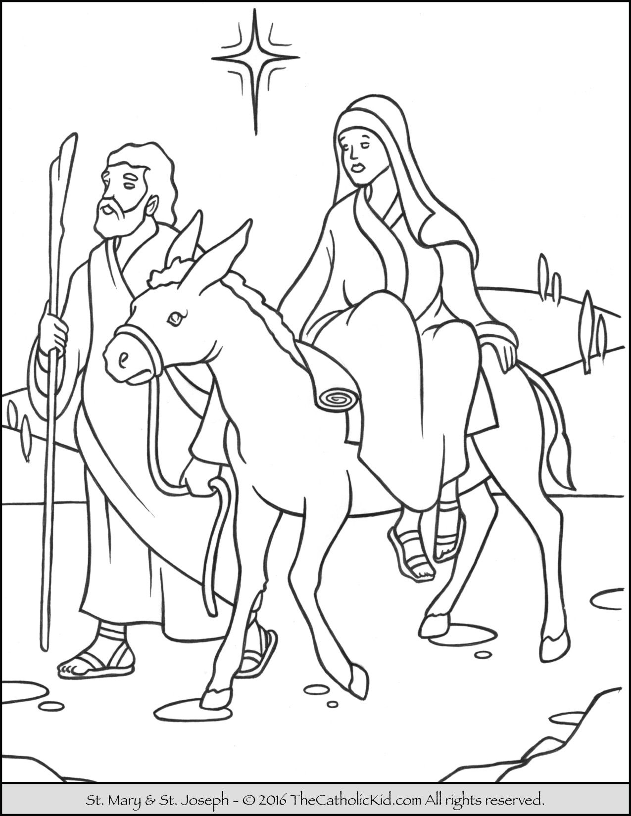 Mary Joseph To Bethlehem Advent Coloring Page Thecatholickid Com