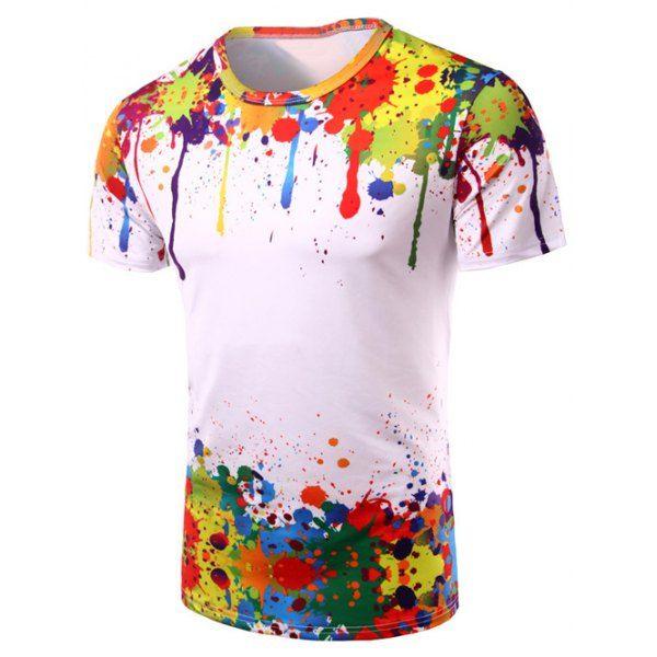 c317f78d8df70f $10.99 Round Neck 3D Colorful Splash-Ink Print Short Sleeve T-Shirt For Men