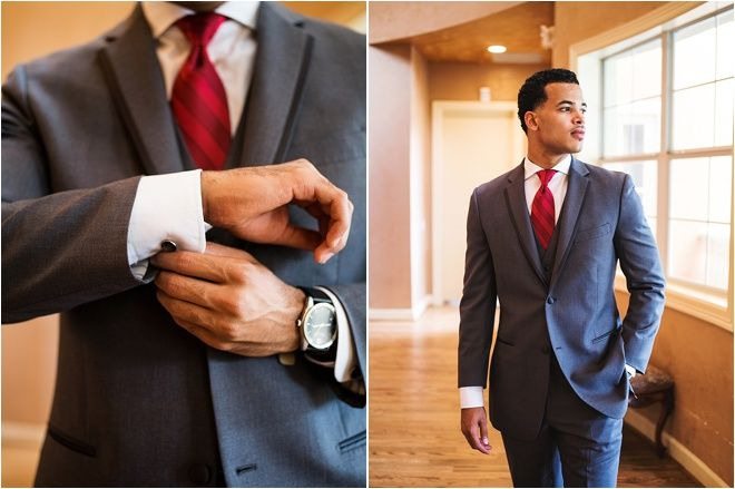 Gray Groom S Suit And Red Tie Photos Civic Mensfashion