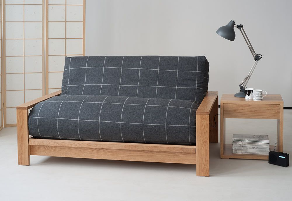 Panama Solid Oak Sofa Bed Base With Futon In A New Wool Cover