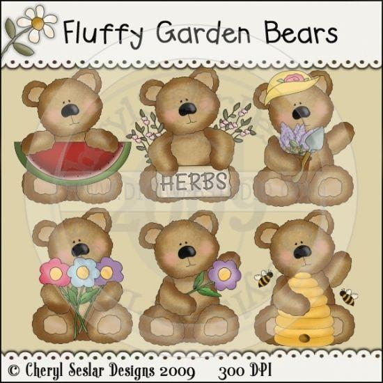 Fluffy Garden Bears 1 - Whimsical Clip Art by Cheryl Seslar