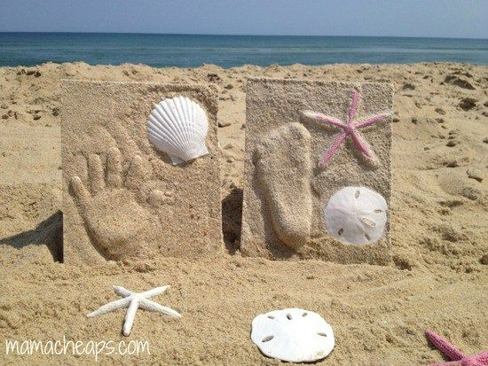 DIY Beach Sand Hand and Footprint Keepsakes | Footprint crafts ...
