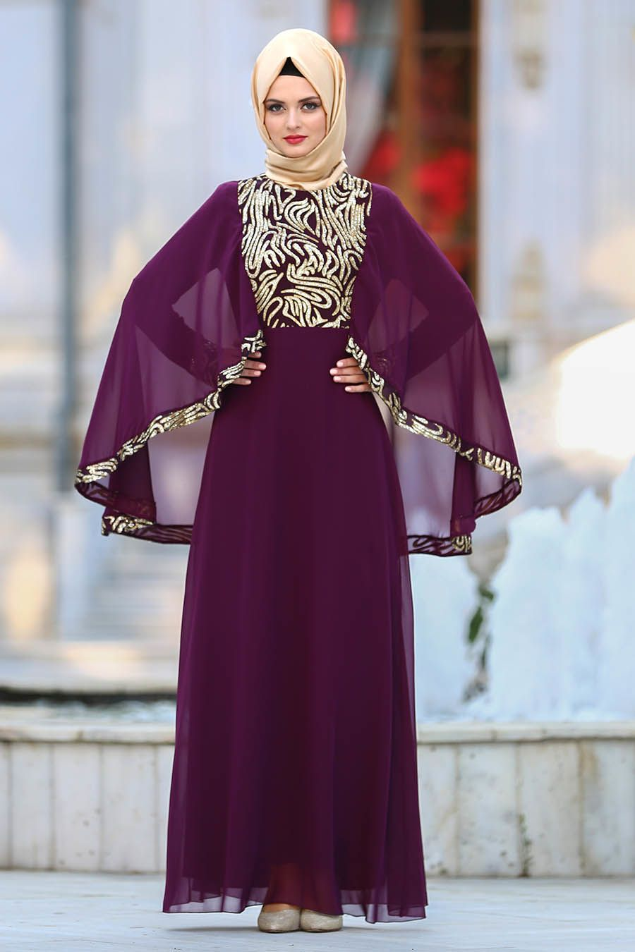 9ee9a3172cdc1 Neva Style - Payet Detaylı Mürdüm Tesettür Abiye Elbise 25620MU  #tesetturisland #tesettur #tesetturelbise
