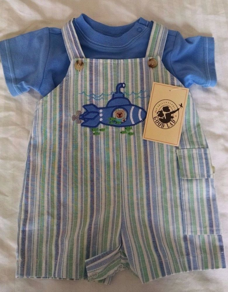 Good Lad Jon Jon Romper Outfit 6-9M Blue Shirt Striped Jumper Bear Submarine New #GoodLad #DressyEverydayHoliday