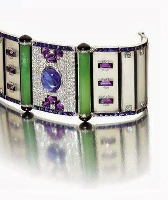 Lacloche Freres. Art Deco chalcedony, sapphire, amethyst and diamond bracelet.