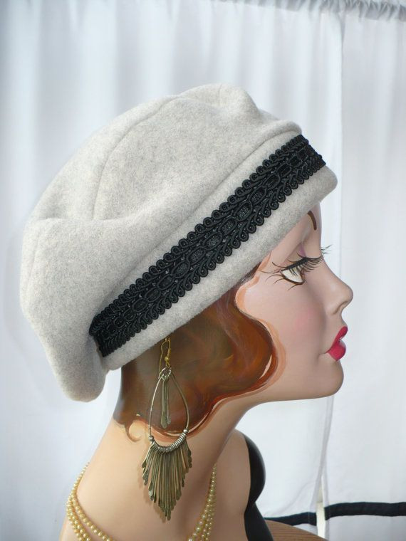 Oatmeal Heather Polar Fleece Beret with Black Rayon by GreatHat ♡