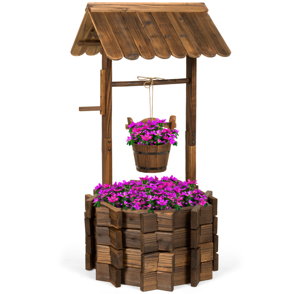 Best Choice Products Wooden Wishing Well Bucket Planter