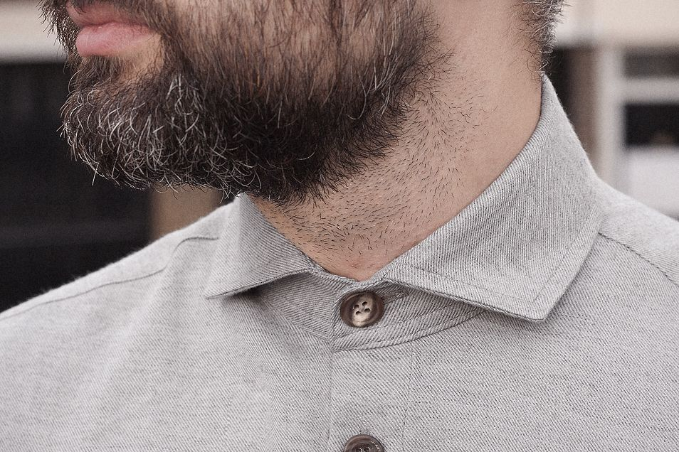 Tan wool-cotton semi-cutaway shirt.