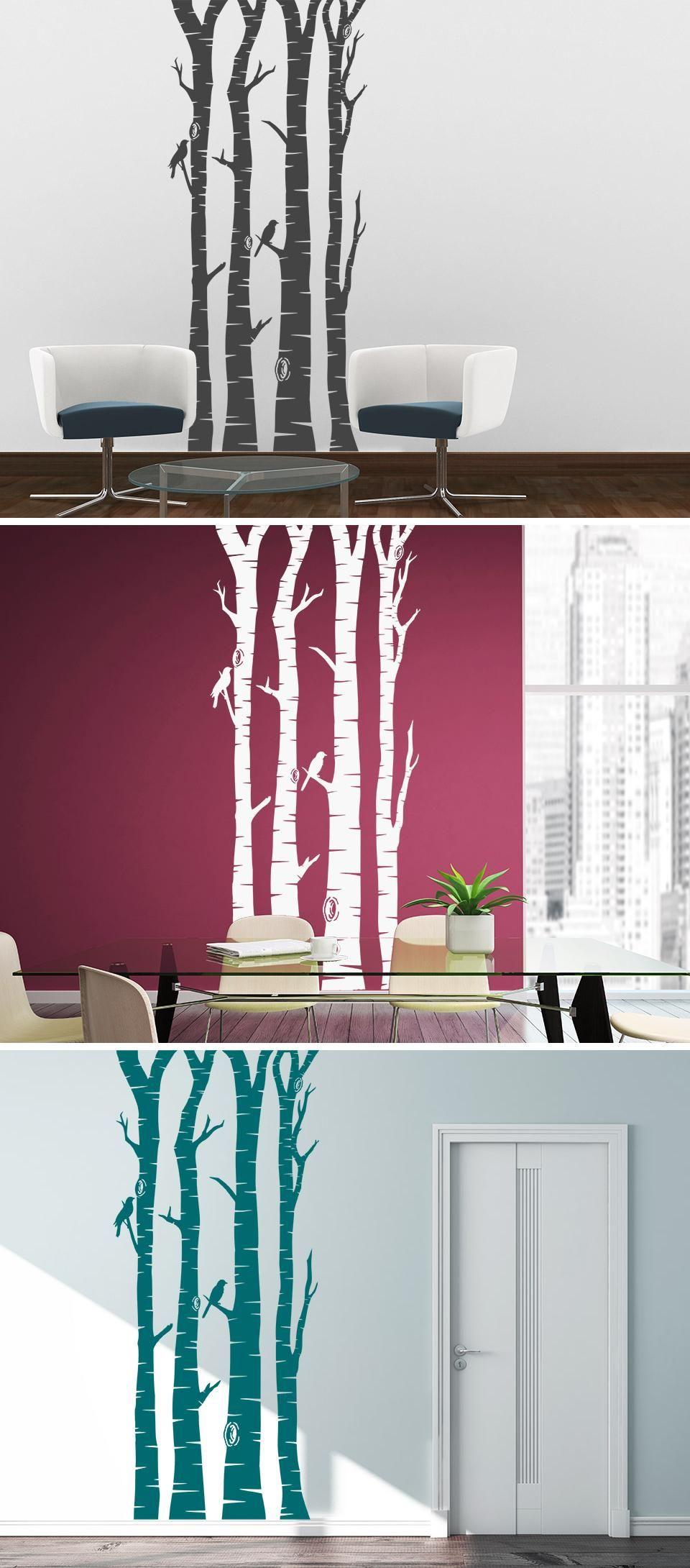 Erstaunlich Wandtattoo Bäume Referenz Von Birkenstämme Mit Vögeln Von Wandtattooreview