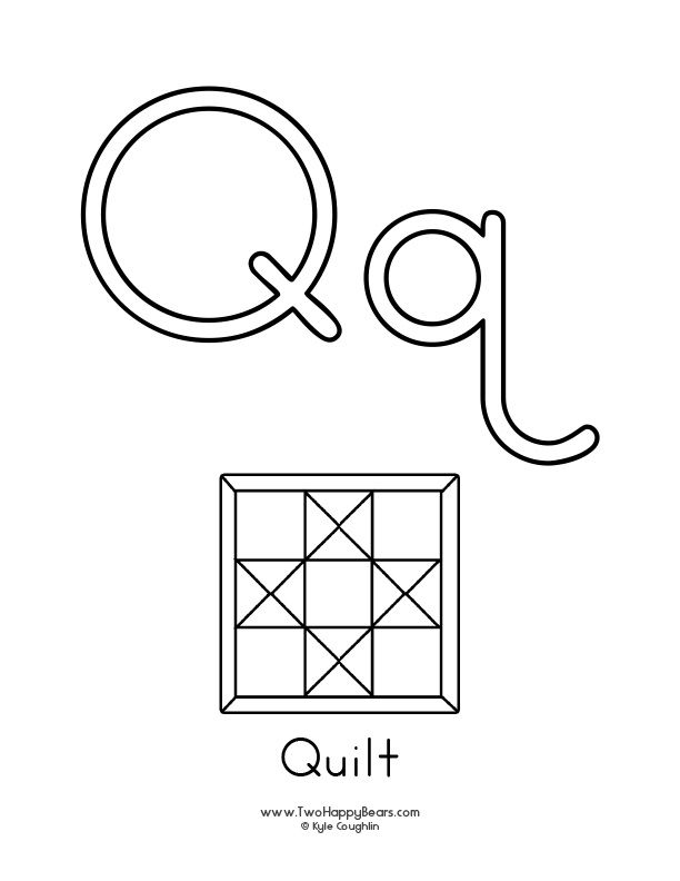 Free printable coloring page for the letter Q, with upper ...