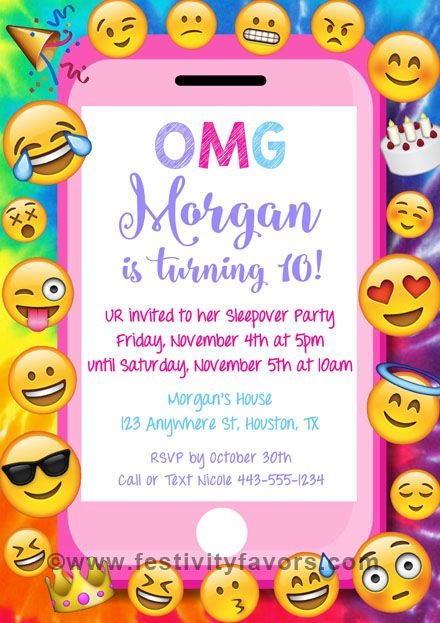 Emoji Birthday Party Invitations Ideal For An Emojis Themed And Can Be Used Kids Of All Ages The Finished Are Colorful