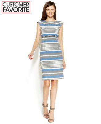 4be9b9ef Calvin Klein Cap-Sleeve Belted Striped Sheath | macys.com | Bridal ...