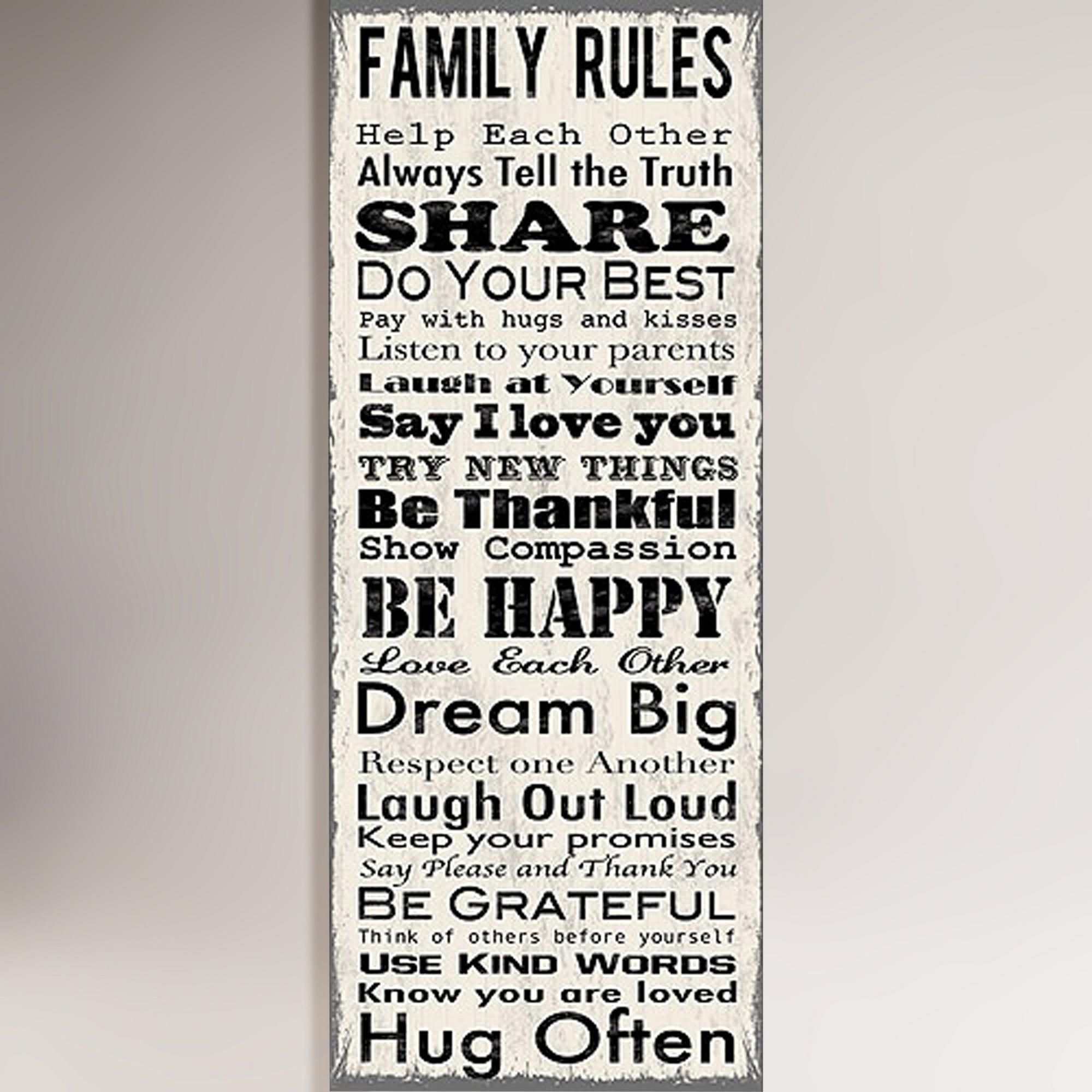Family rules canvas wall art decal