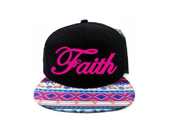 b2bbfc679ca Aztec Snapback Hat Faith Flat Bill Black Tribal Festival Pink Adjustable Unisex  Snapback
