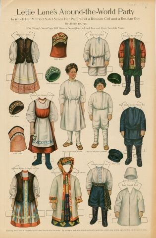 Russian Boy /& Girl Vintage Cloth Doll International Pattern