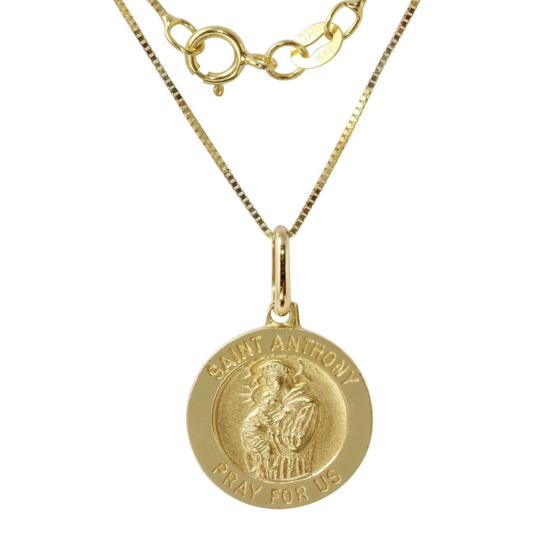 Women's 14k Gold Saint Anthony Medal Pendant on 18-inch Chain