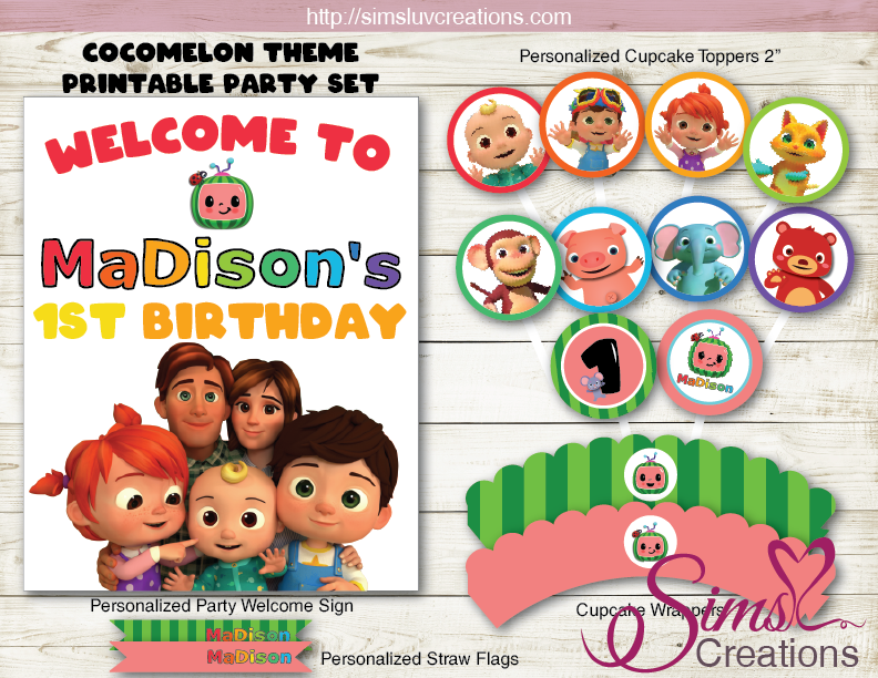 Cocomelon Printable Party Backdrop Banner Birthday Poster Sims Luv Creations Party Printables Birthday Party Decorations Personalised Cupcake Toppers