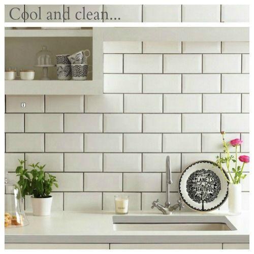 Download Wallpaper White Kitchen Backsplash With Black Grout