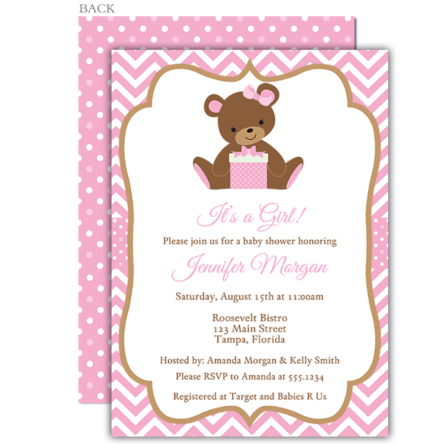 Chevron Teddy Bear Pink Baby Shower Invitation Children