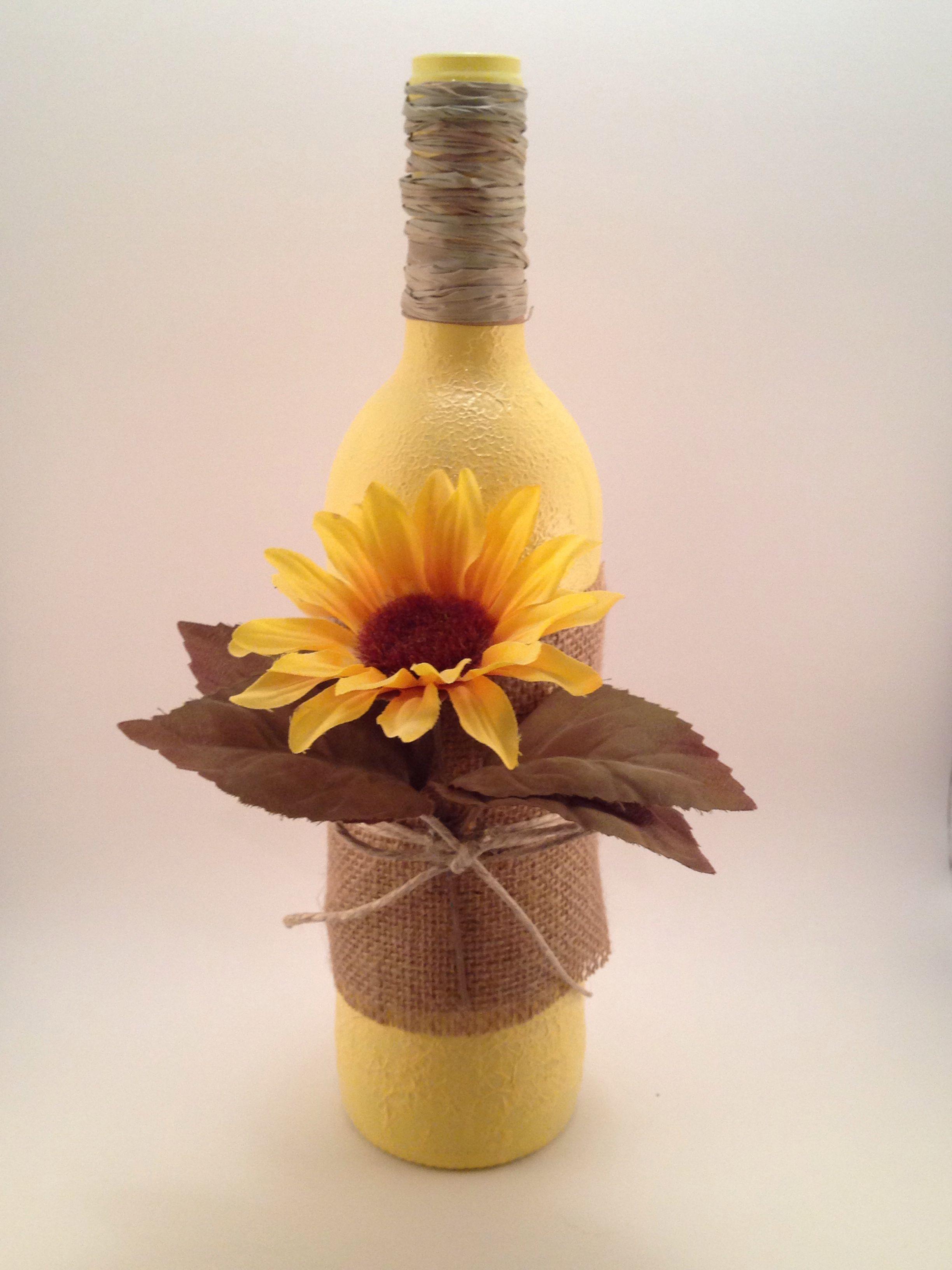 Sunflower Hand Painted Wine Bottle Wine Glasses Amp Bottles Pinterest Painted Wine Bottles