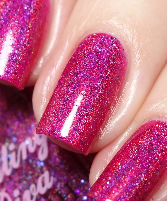 Darling Diva Polish - Electric Barbie-rella - Hella Holo Customs group polishes for January 2017 | Sassy Shelly