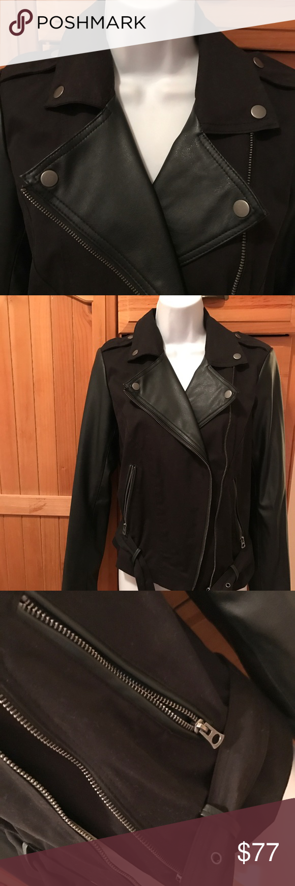 Lucky Brand Faux Leather Motorcycle Jacket S 189 Faux