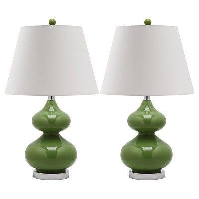 Table Lamp GreenWhite Safavieh | Table lamp, Table lamp