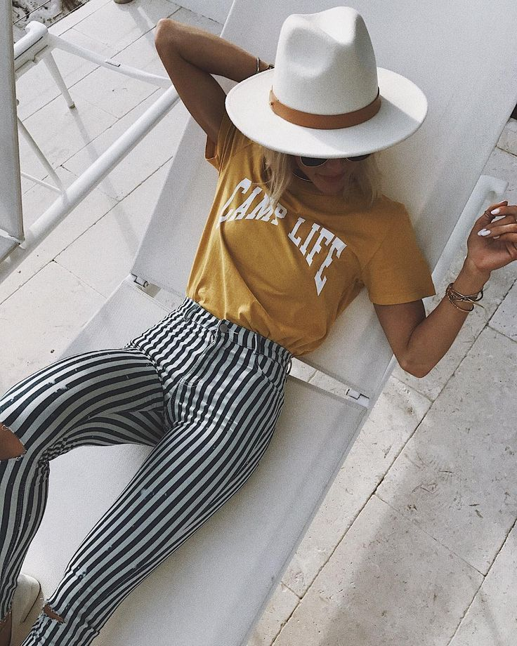 Striped Pants + Retro Tee + Fedora Hat + Bohemian Style