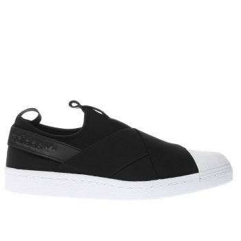 0df23a3c6f19ba Womens Black   White Adidas Superstar Slip-On Trainers