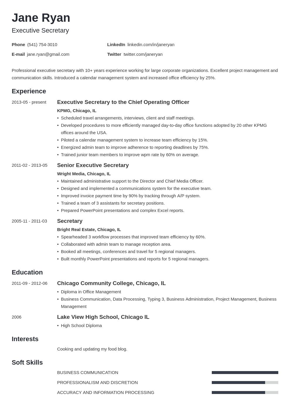 secretary resume example template minimo  resume examples