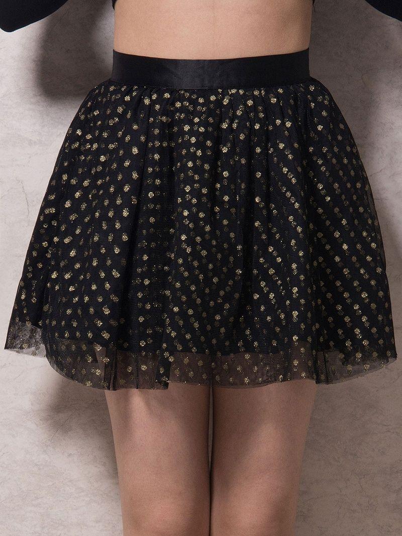 Black Polka Dot Print Tulle Skater Skirt Dresses #Tops #Swimwear #Jeans #Jackets #Skirts #Shoes